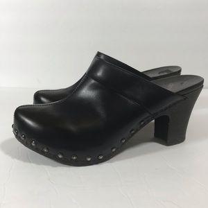 Dansko Rae studded mule clogs shoes black leather